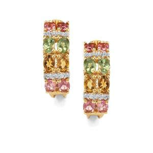 Rainbow Tourmaline Earrings with White Zircon in Vermeil 4.36cts