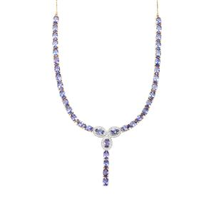 AA Tanzanite Necklace with White Zircon in 10K Gold 17.20cts