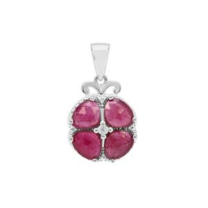 Rose Cut Malagasy Ruby Pendant with White Zircon in Sterling Silver 3.05cts (F)