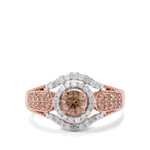 1.07ct Champagne & White Diamond 9K Rose Gold Tomas Rae Ring