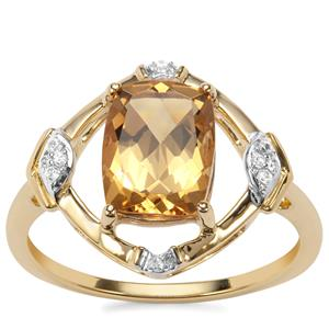 Mansa Beryl Ring with White Zircon in 9K Gold 1.97cts