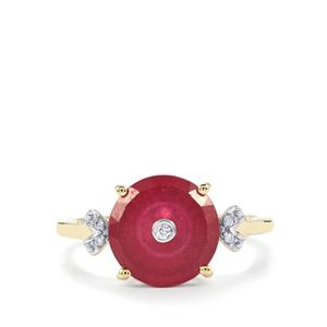 Lehrer TorusRing Malagasy Ruby Ring with Diamond in 10K Gold 3.78cts (F)