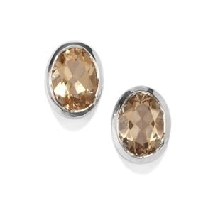 1.41ct Bolivian Champagne Quartz Sterling Silver Earrings