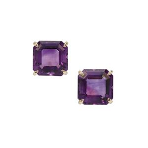 Asscher Cut Moroccan Amethyst Earrings in 9K Gold 6.30cts