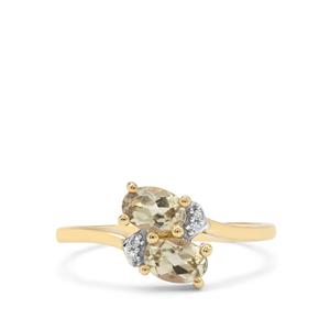 Csarite® & Diamond 9K Gold Ring ATGW 0.95ct
