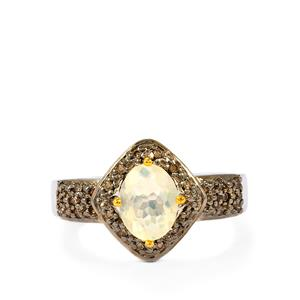Ethiopian Opal Ring with Champagne Diamond in Sterling Silver 1cts
