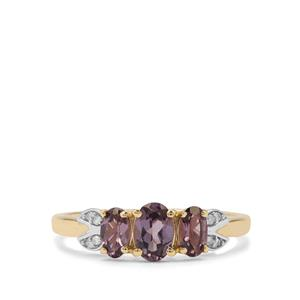 Mahenge Purple Spinel Ring with Diamond in 9K Gold 1.05cts