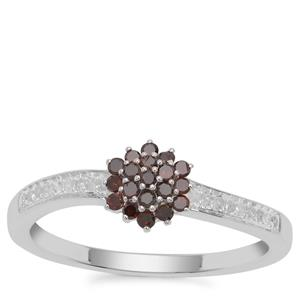 Cognac Diamond Ring with Diamond in Sterling Silver 0.25ct