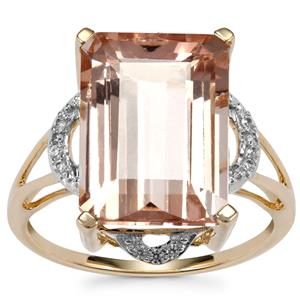 Rose Danburite Ring with White Zircon in 10k Gold 7.92cts