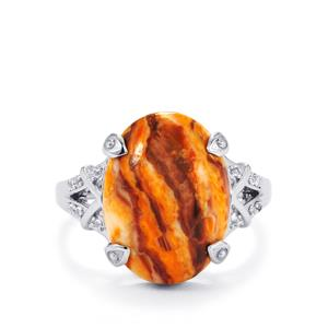 Lion's Paw Shell (16x12mm) & White Topaz Sterling Silver Ring