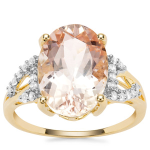 Rose Danburite Ring with White Zircon in 9K Gold 6.21cts