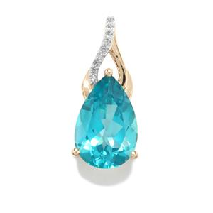 Batalha Topaz Pendant with Diamond in 9K Gold 7.09cts
