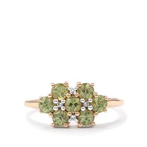 Ambanja Demantoid Garnet & Diamond 9K Gold Ring ATGW 1.24cts