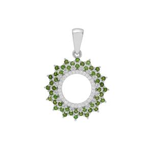 Chrome Diopside & White Zircon Sterling Silver Pendant ATGW 1cts