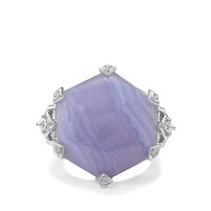 Blue Lace Agate & White Zircon Sterling Silver Ring ATGW 22.88cts