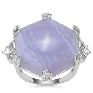 Blue Lace Agate Ring with White Zircon in Sterling Silver 22.88cts