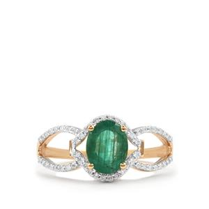 Minas Gerais Emerald & Diamond 18K Gold Tomas Rae Ring MTGW 1.35cts