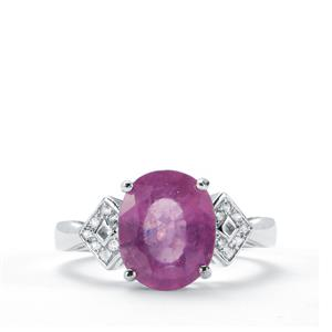 Ilakaka Hot Pink Sapphire Ring with White Topaz in Sterling Silver 5.39cts (F)