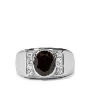 Black Spinel & White Zircon Sterling Silver Ring ATGW 3.87cts