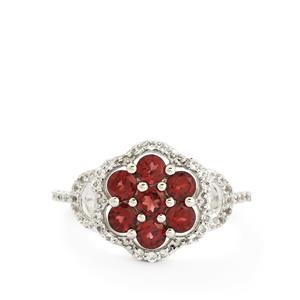 Rajasthan Garnet & White Topaz Sterling Silver Ring ATGW 1.92cts