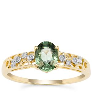 Green Sapphire Ring with Diamond in 9K Gold 1.09cts