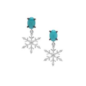 Sleeping Beauty Turquoise Earrings with White Zircon in Sterling Silver 1.09cts
