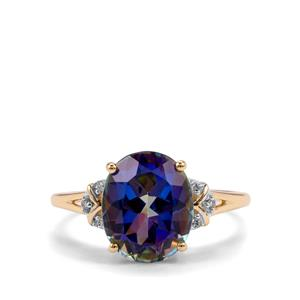Mystic Blue Topaz Ring with Diamond in 9K Gold 4.31cts