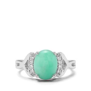 Prase Green Opal & White Zircon Sterling Silver Ring ATGW 2.44cts