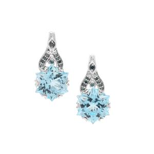 Wobito Snowflake Cut Sky Blue Topaz Earrings with Blue Diamond in 9K White Gold 5.65cts