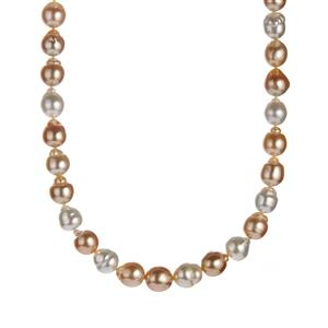 South Sea and Golden South Sea Cultured Pearl Sterling Silver Necklace (10x8mm)