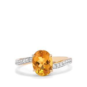 Xia Heliodor & White Zircon 10K Gold Ring ATGW 1.83cts