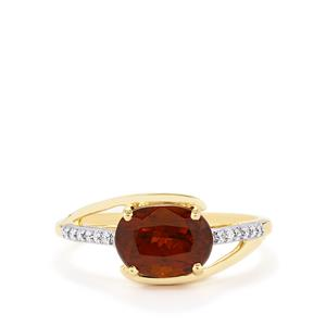 Color Change Bastnaesite Ring with Diamond in 14k Gold 4.19cts