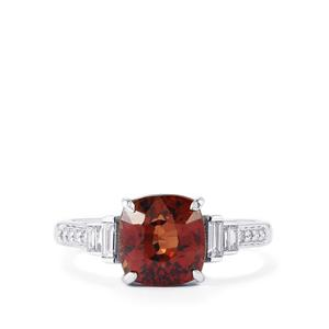 Bekily Color Change Garnet Ring with Diamond in 18k White Gold 3.94cts
