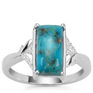 Bonita Blue Turquoise Ring with White Zircon in Sterling Silver 2.72cts