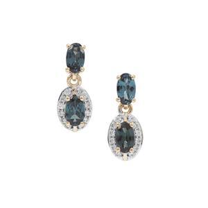 Miova Loko Garnet Earrings with White Zircon in 9K Gold 1.30cts