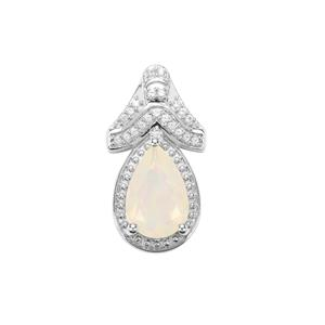 Ethiopian Opal Pendant with Ceylon White Sapphire in Sterling Silver 1.69cts