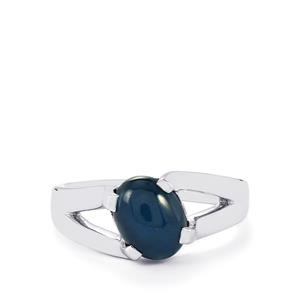Blue Star Sapphire Ring in Sterling Silver 3.13cts