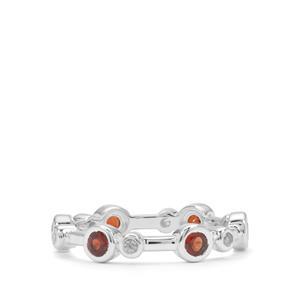 Rajasthan Garnet & White Zircon Sterling Silver Ring ATGW 1cts