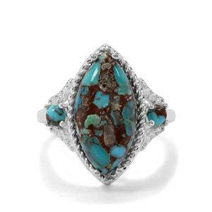 Egyptian Turquoise & White Zircon Sterling Silver Ring ATGW 6.33cts