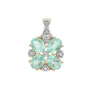 Siberian Emerald Pendant with White Zircon in 9K Gold 1.35cts