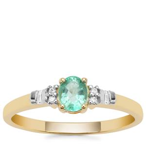Colombian Emerald Ring with White Zircon in 9K Gold 0.42ct