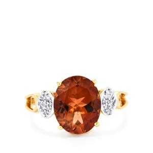 Oregon Sunstone Ring with Diamond in 18k Gold 3.04cts