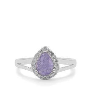 Rose Cut Tanzanite Ring with White Zircon in Sterling Silver 1.75cts