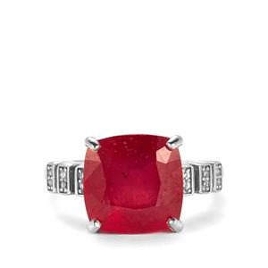 Malagasy Ruby Ring with White Topaz in Sterling Silver 8.77cts (F)