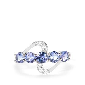 AA Tanzanite Ring with White Zircon in 9K White Gold 1.53cts