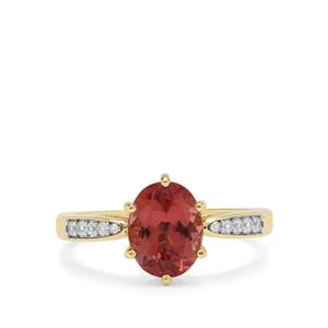 Rosé Apatite Ring with White Zircon in 9K Gold 2.23cts