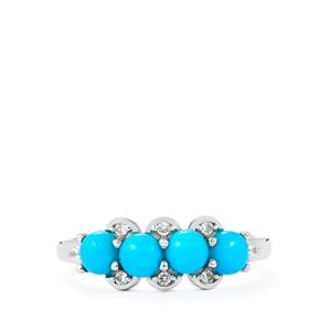 Sleeping Beauty Turquoise Ring with White Zircon in Sterling Silver 1.24cts