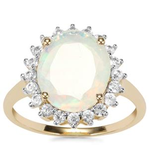 Ethiopian Opal Ring with White Zircon in 10k Gold 2.83cts