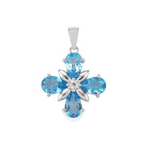 Swiss Blue Topaz & White Topaz Sterling Silver Pendant ATGW 5.95cts
