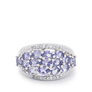 Tanzanite & White Topaz Sterling Silver Ring ATGW 2.64cts